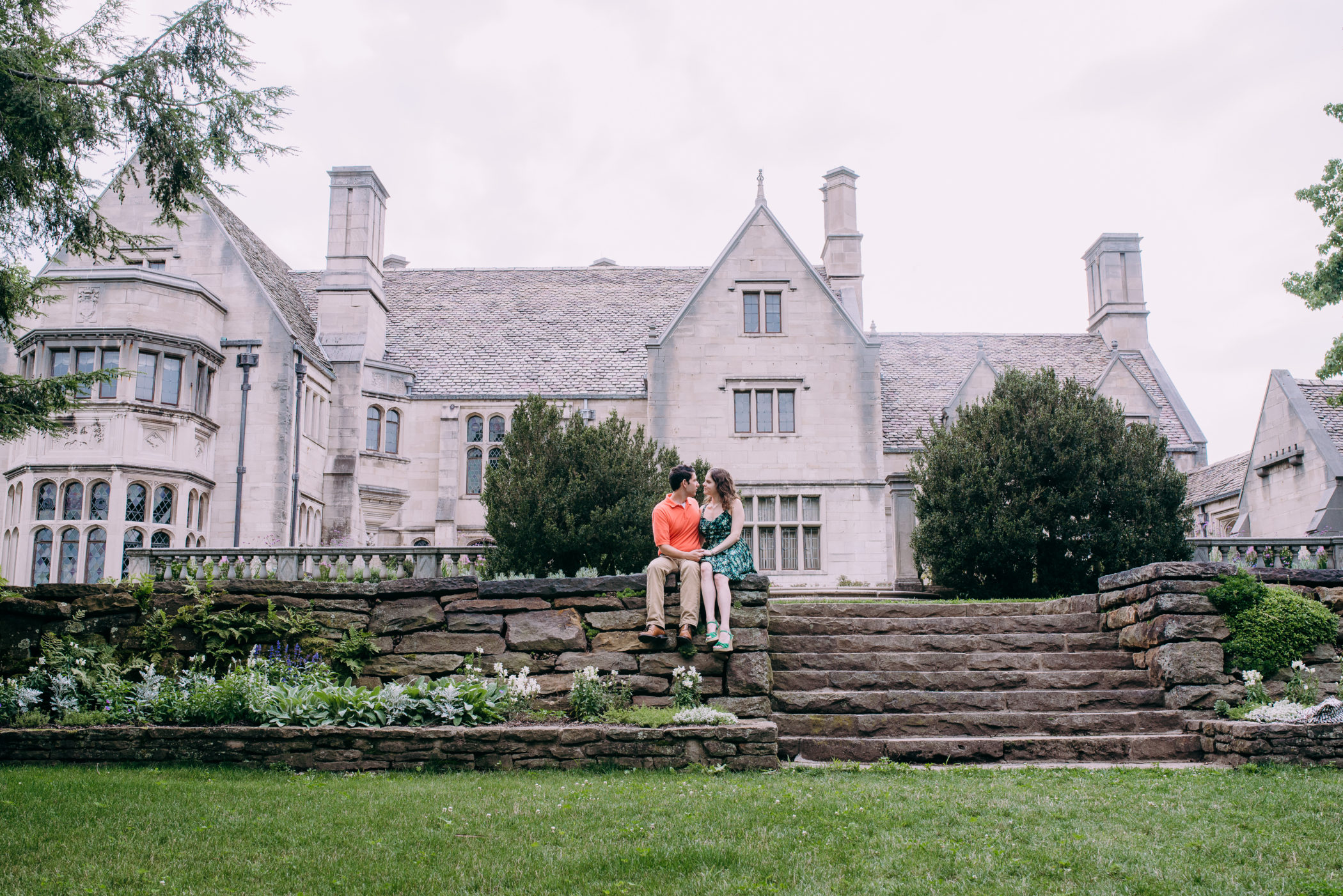 Engagement portrait in front of Hartwood Acres Mansion, near Pittsburgh, PA. Photographed by Laura Mares, a Pittsburgh Photographer.