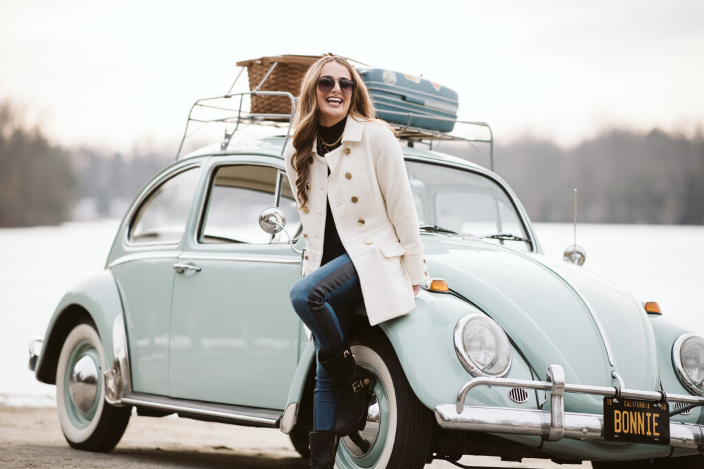 Portrait of a girl with a VW Bug. Photo by Laura Mares Photography, Pittsburgh Portrait Photographer.