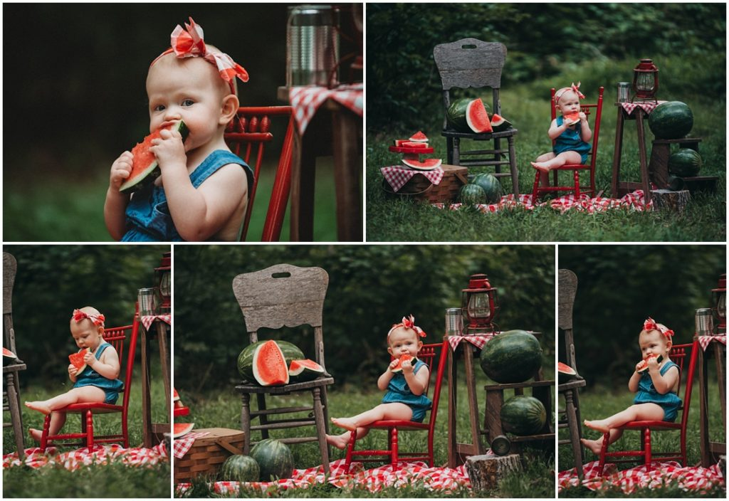 Baby girl eating watermelon at a Flourish Academy Camera Club. Photo by Laura Mares, a Pittsburgh Lifestyle Photographer