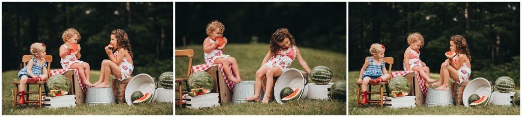 Girls eating watermelon at a Flourish Academy Camera Club. Photo by Laura Mares, a Pittsburgh Lifestyle Photographer
