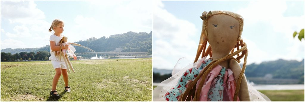 Ella and Tutu playing near Point State Park. Photo by Laura Mares Photography, Pittsburgh Lifestyle Photographer.