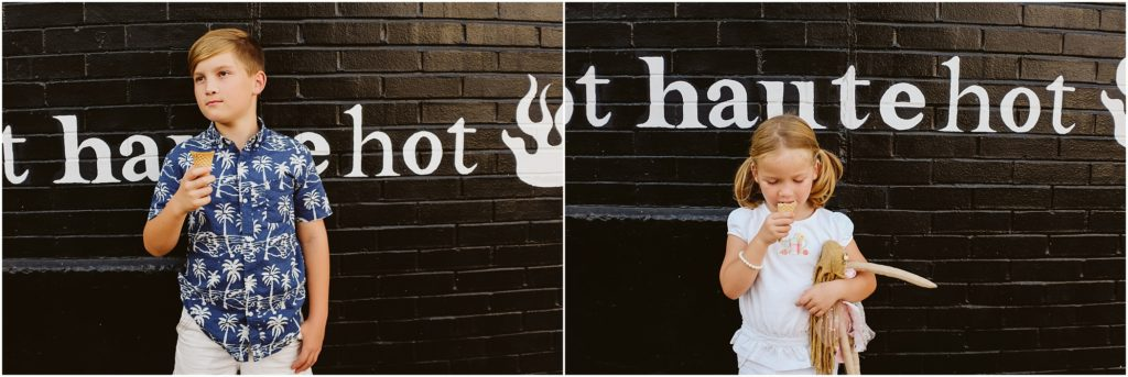 Children standing in front of a painted brick wall. Photo by Laura Mares Photography, Pittsburgh Child Photographer.