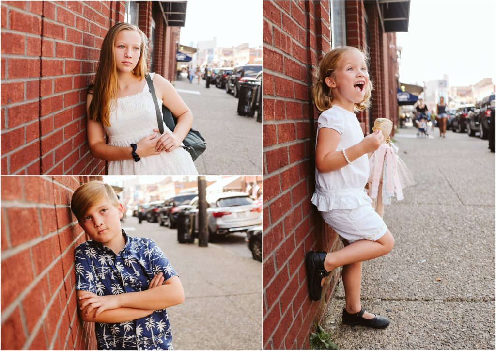 Siblings in front of a brick wall. Photo by Laura Mares Photography, Pittsburgh Lifestyle Photographer.