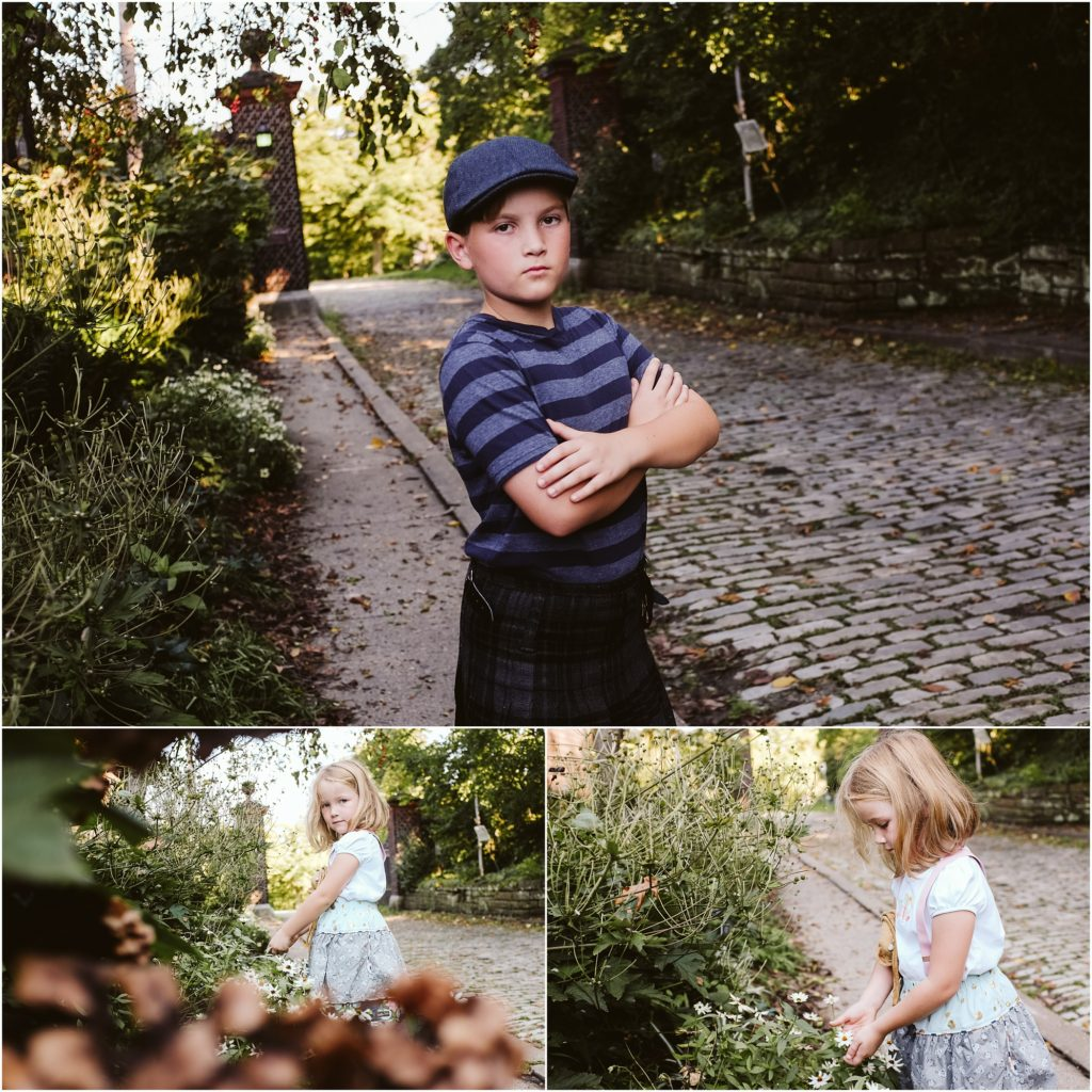 Siblings exploring Mellon Park. Photo by Laura Mares Photography, Pittsburgh Lifestyle Photographer.
