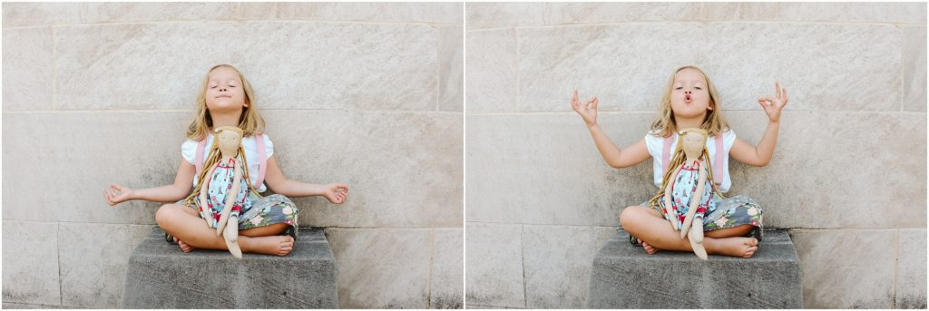 Girl sitting in front of a wall. Photo by Laura Mares Photography, Pittsburgh Child Photographer.