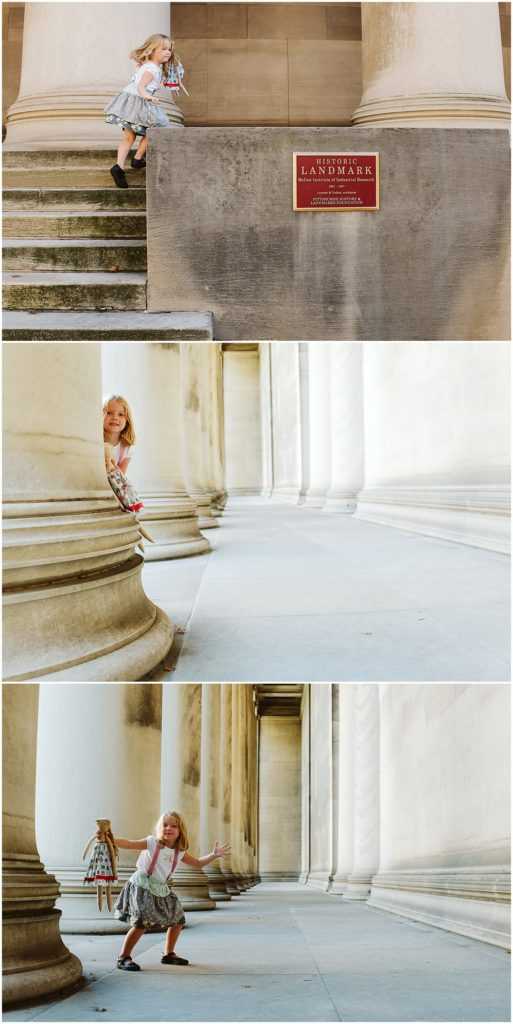 Girl playing around columns. Photo by Laura Mares Photography, Pittsburgh Lifetyle Photographer.