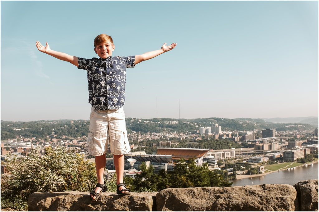 Child standing on Mt. Washington. Photo by Laura Mares Photography, Pittsburgh Child Photographer.