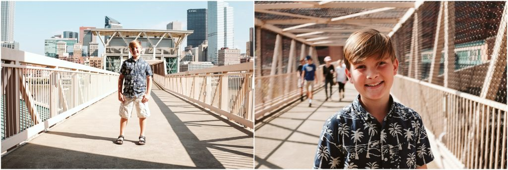Child standing on a bridge. Photo by Laura Mares Photography, Pittsburgh Child Photographer.