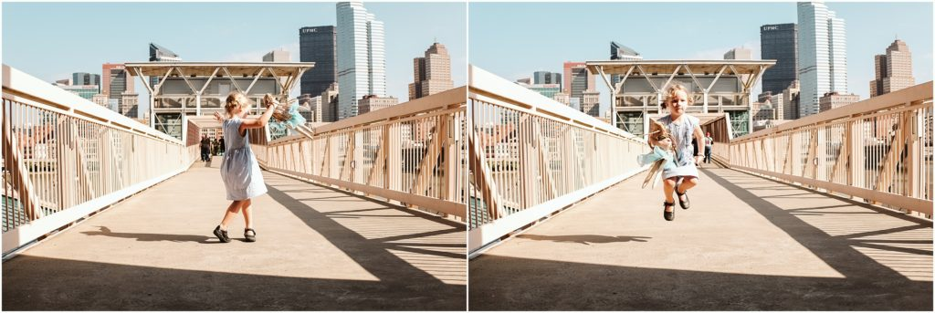 Girl jumping on a bridge. Photo by Laura Mares Photography, Pittsburgh Lifestyle Photographer.