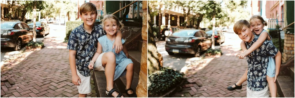 Siblings ridding biggie back style. Photo by Laura Mares Photography, Pittsburgh Child Photographer.