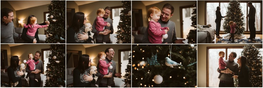 Family of three decorating their tree for Christmas. Photograph by Laura Mares Photography, Pittsburgh Lifestyle Photographer.