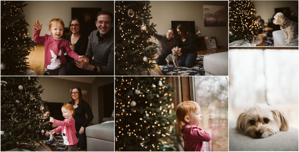 Family of three decorating their home for Christmas. Photograph by Laura Mares Photography, Pittsburgh Lifestyle Photographer.