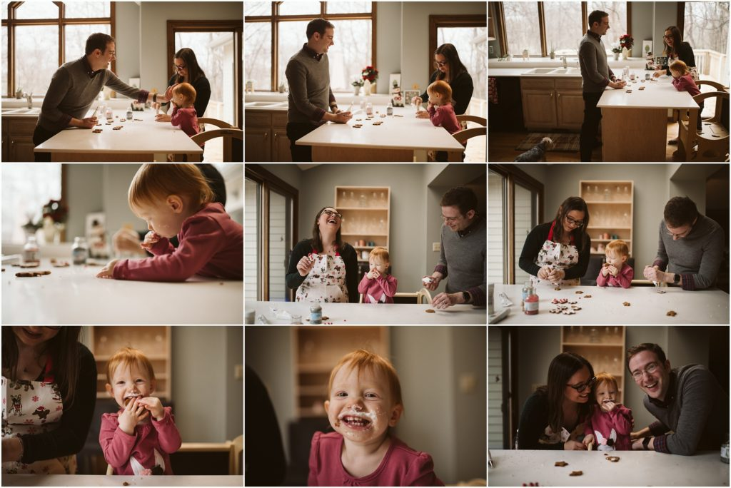 Family of three baking Christmas cookies. Photograph by Laura Mares Photography, Pittsburgh Lifestyle Photographer.