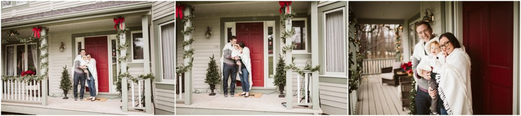 Family of three standing outside their home that is decorated for Christmas. Photograph by Laura Mares Photography, Pittsburgh Lifestyle Photographer.