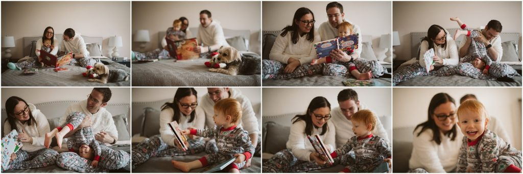 Family of three reading Christmas books in bed wearing matching pajamas. Photographs by Laura Mares Photography, Pittsburgh Lifestyle Photographer.