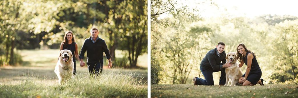 Portraits of a couple with their golden retriever by Laura Mares Photography, Pittsburgh Family Photographer.