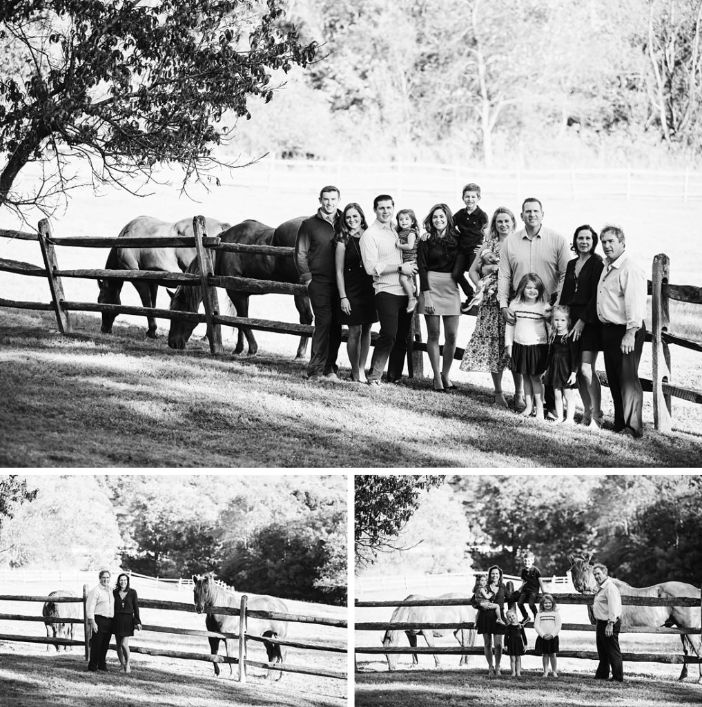 Black and white portraits of a family near horses. Photo by Laura Mares Photography, Pittsburgh Family Photographer.
