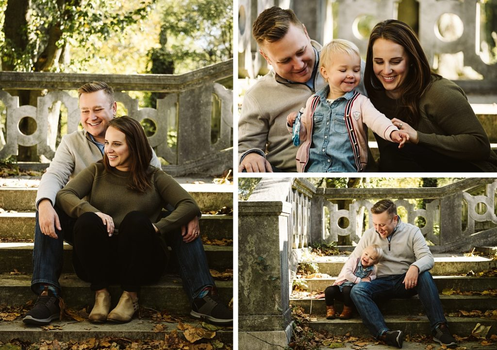 Family sitting on stone stairs. Photography by Laura Mares Photography, Pittsburgh Family Photographer.