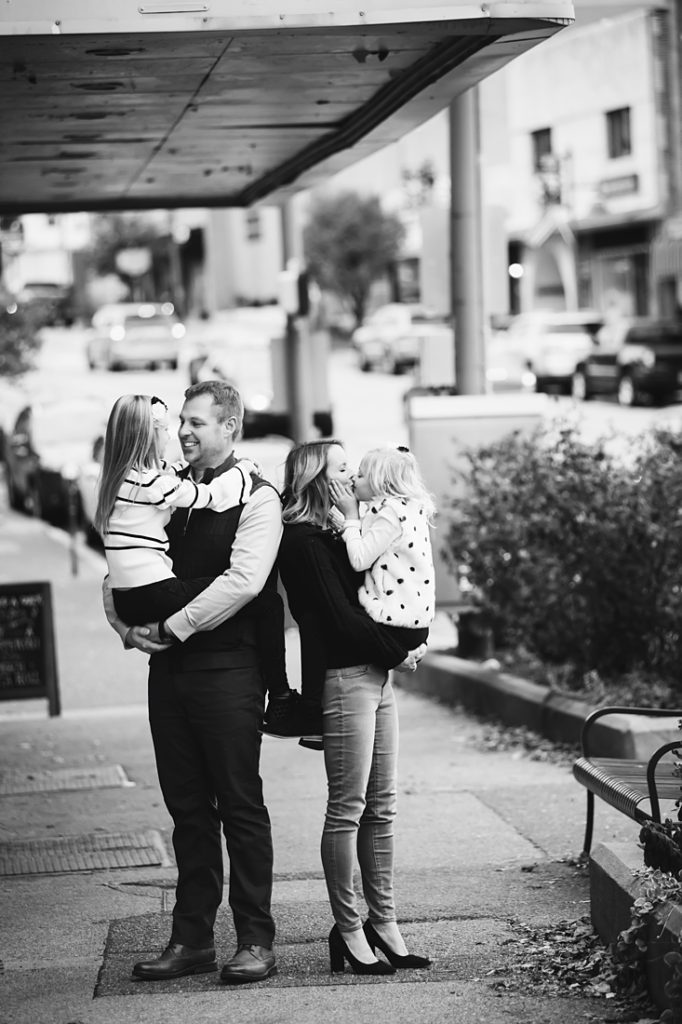 Black and white Urban Family Portrait. Portrait taken by Laura Mares Photography, Pittsburgh Family Photographer.