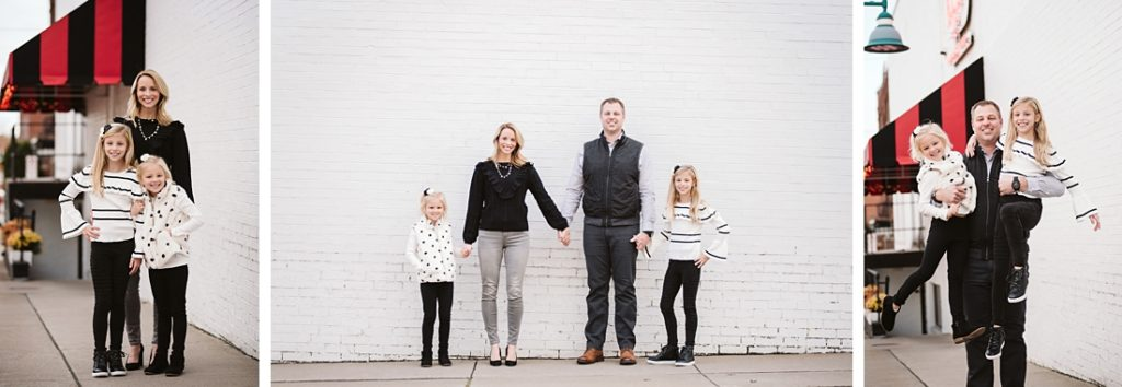 Urban Family Portraits with white brick wall. Portrait taken by Laura Mares Photography, Pittsburgh Family Photographer.