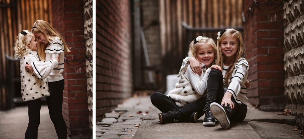 Urban family portraits taken in a brick alley. Portraits taken by Laura Mares Photography, Pittsburgh Family Photographer.