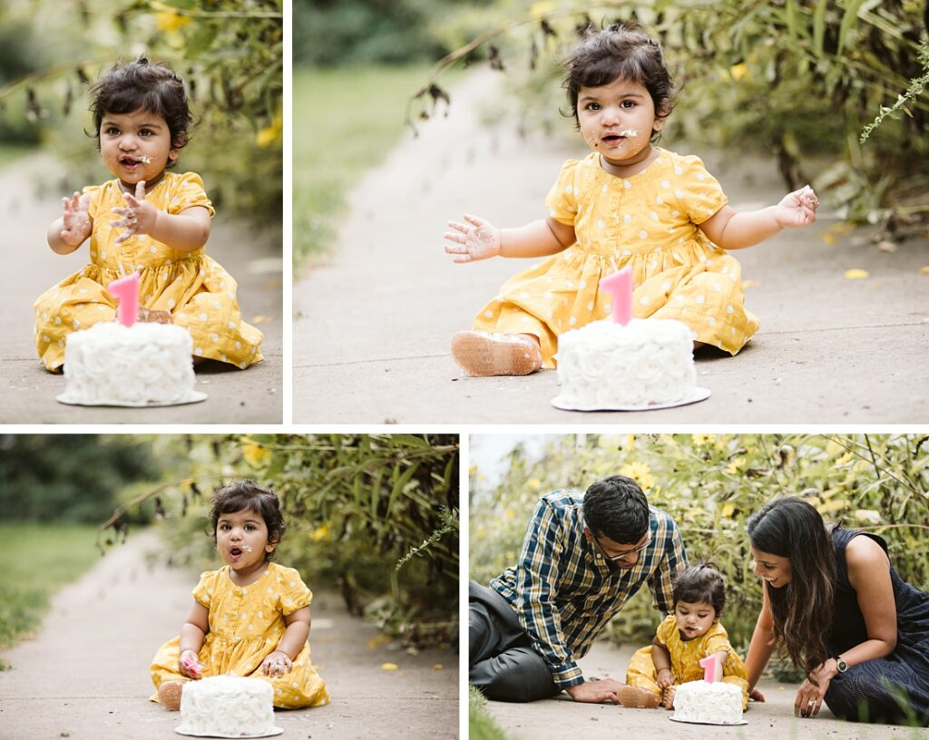 First birthday outdoor cake smash photos. Portraits by Laura Mares Photography, Pittsburgh 1st birthday Photographer.