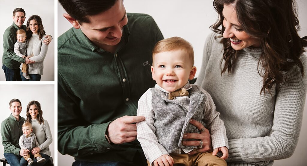 family of three, admiring their 1st birthday boy. Photo by Laura Mares Photography, Pittsburgh Baby Photographer.