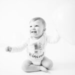 Black and white portrait of a 1st birthday boy. Photo by Laura Mares Photography, Pittsburgh Baby Photographer.