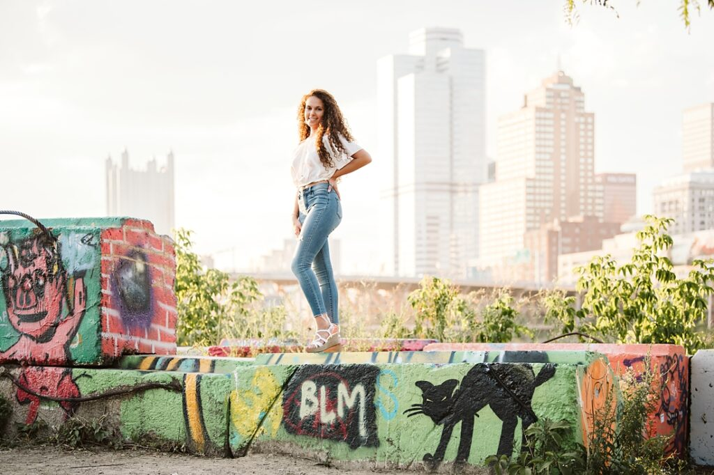 Senior girl posing in Pittsburgh's Color Park