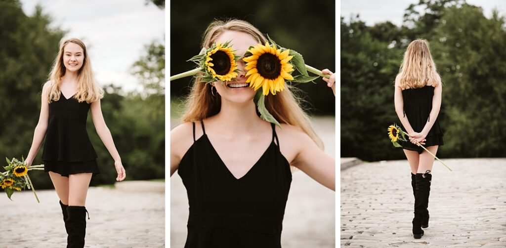 Senior girl with sunflowers