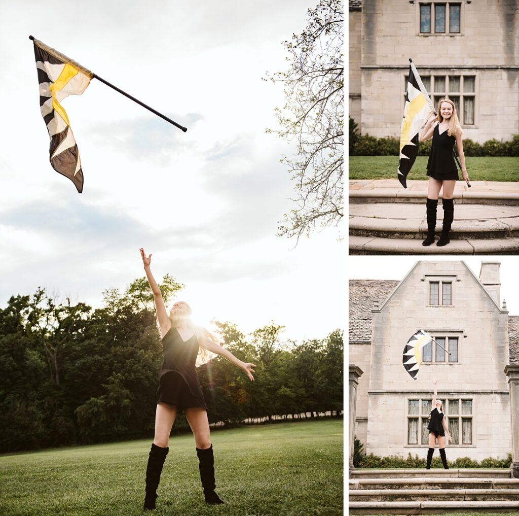 Senior girl from color guard throwing flags