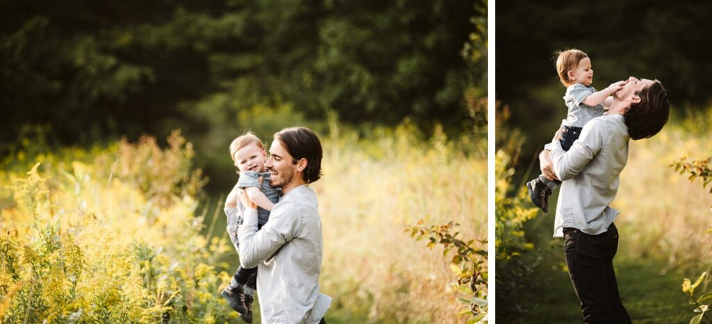 Father and 12 month old sun having fun during their family photo session