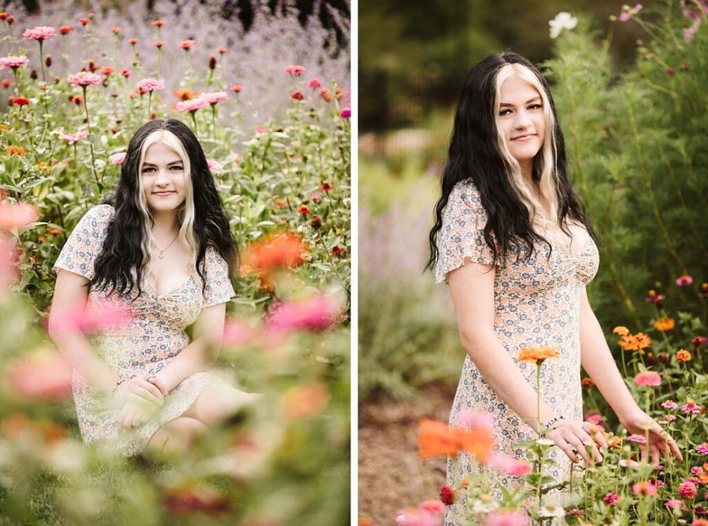High school senior girl posing among flowers at Hardwood Acres.