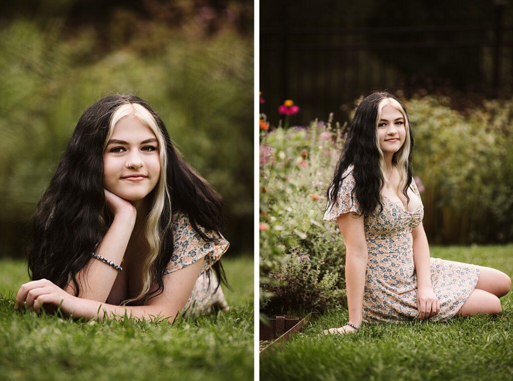 senior portraits of a girl in Hartwood Acre's flower garden
