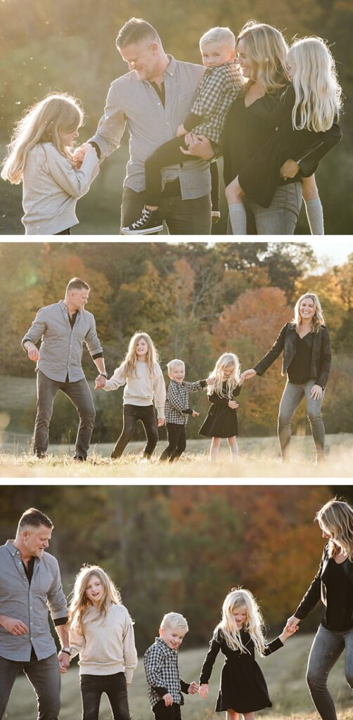 a family on a rural field dancing and having fun together