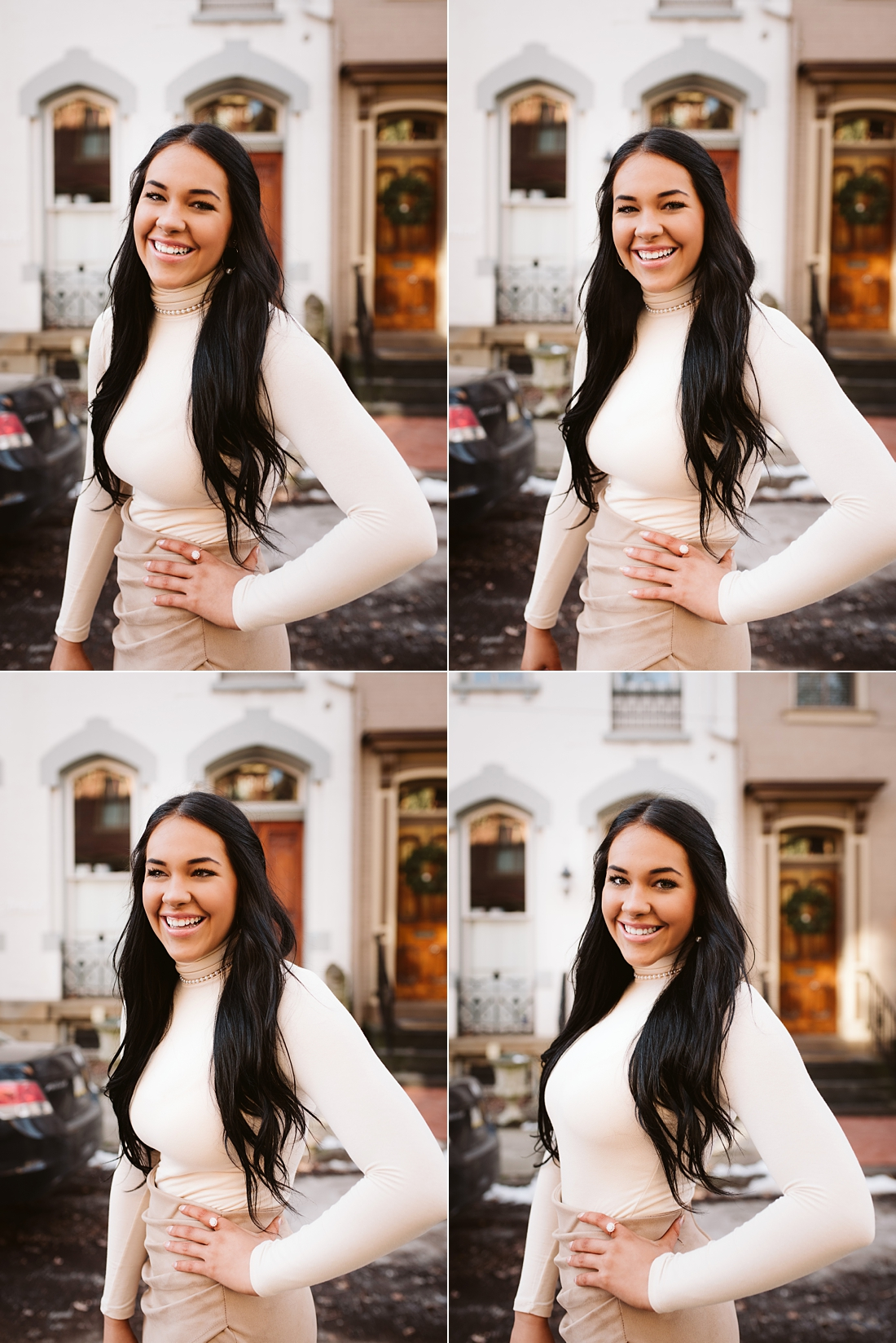senior smiles of a girl in Pittsburgh's Mexican War Streets