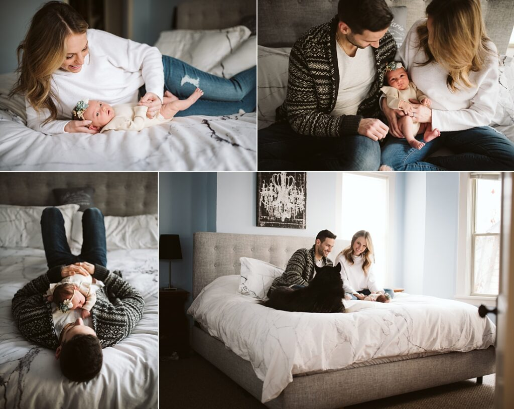 lifestyle portraits at home with newborn baby in master bedroom in Pittsburgh