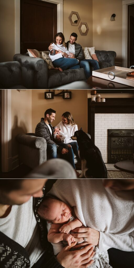 moody lifestyle portraits at home with newborn baby in Pittsburgh