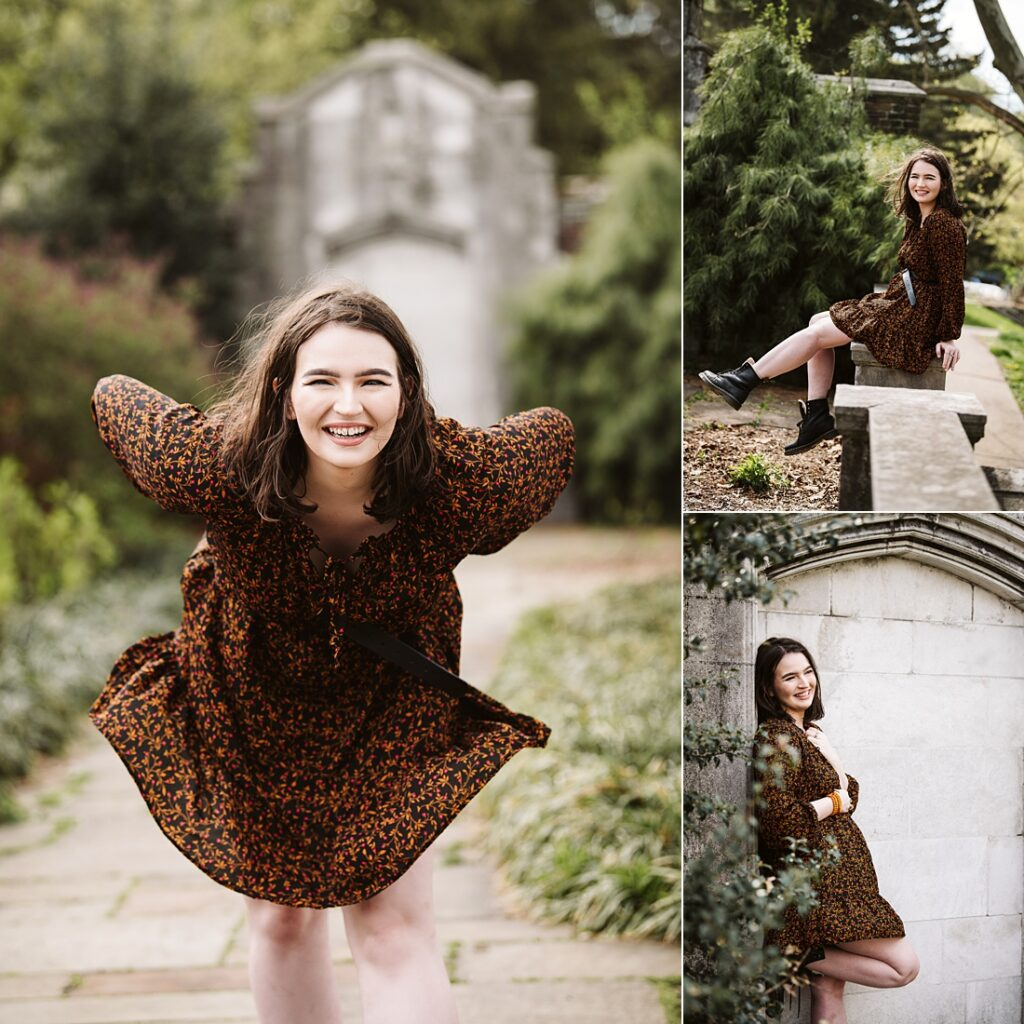 senior pictures of a girl wearing a floral dress in Pittsburgh's beautiful Mellon Park