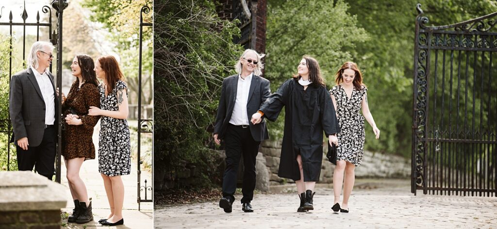 graduation pictures of a senior girl with her parents