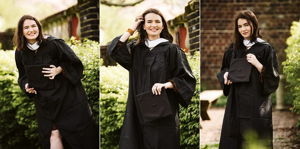 senior portraits of a college graduate wearing a cap and gown